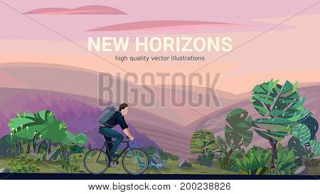 New horizons - conceptual illustration with a man riding bicycle in wonderful summer landscape