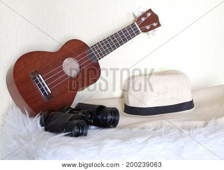 Accessories for lucky travel. guitar, straw hat, binoculars