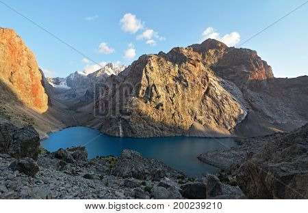 Landscape Of Beautiful Rocky Fan Mountains And Allo Lake In Tajikistan