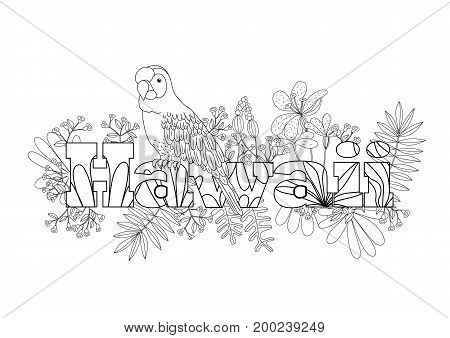 Coloring for adult bird parrot . Exotic tropical plants.