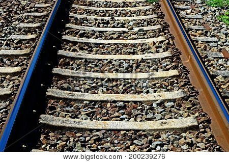 Train track in front for close up photo