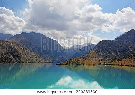 Landscape Of Beautiful Fan Mountains And Iskanderkul Lake In Tajikistan