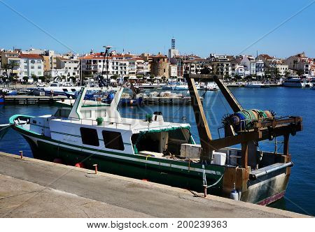 Cambrils Spain - may 16 2016: View of port and city waterfront yahts and boats