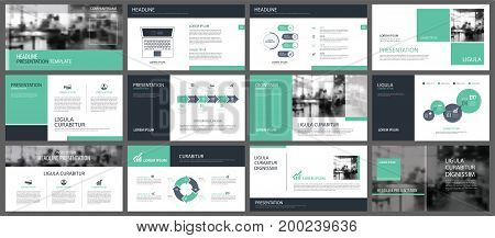 Green presentation templates and infographics elements background. Use for business annual report flyer corporate marketing leaflet advertising brochure modern style.