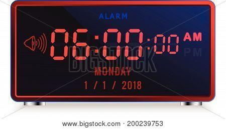 Modern digital LED alarm clock with calendar