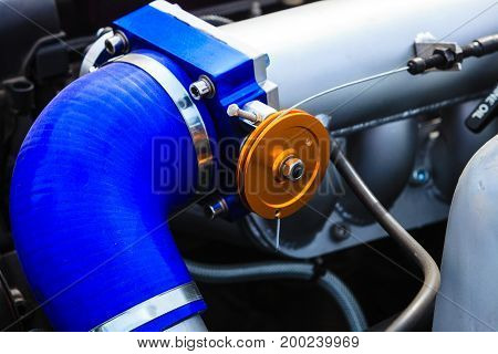 Agriculture equipment concept. Detailed closeup of air filter in big vehicle machinery