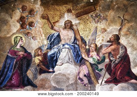 Detail of a mosaic detailing the ascension of Jesus Christ.