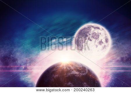 Full moon against composite image of illuminated lights