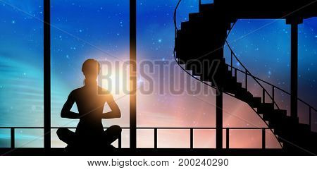 Vector female practicing meditation against digitally composite image of colorful lights