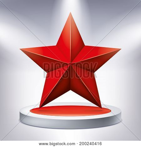 Red five-pointed star on the illuminated podium, award pedestal, geometry shape, vector design for you project