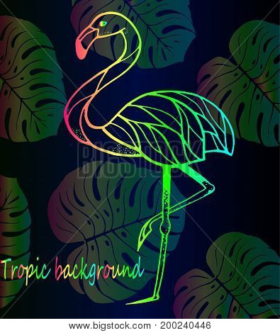 Beautiful bright gradient of flamingos and tropical leaves. Youth Art Background - beautiful bright rainbow flamingo - season trend and exotic leaves pattern