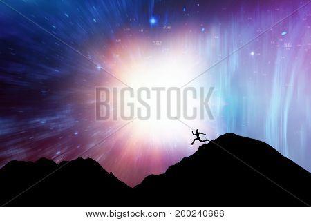 Fit brunette running and jumping against illustration of illuminated light