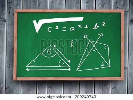 Digital composite of equation diagrams on blackboard
