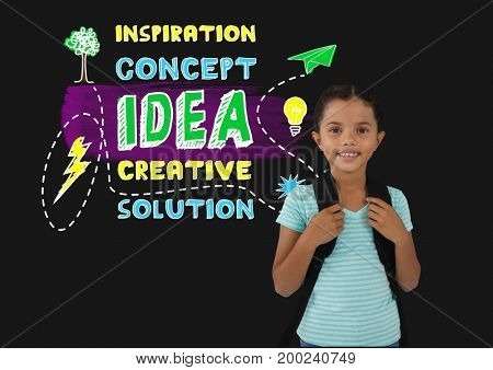 Digital composite of Schoolgirl next to colorful creative concept idea text