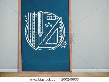 Digital composite of stationery on blackboard