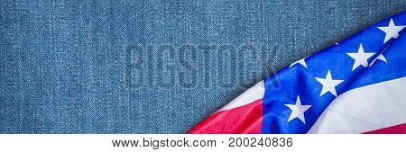 Digital composite of USA flag on demin fabric