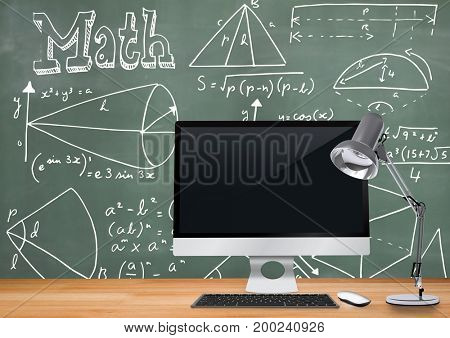 Digital composite of Computer Desk foreground with blackboard graphics of math diagrams and equations