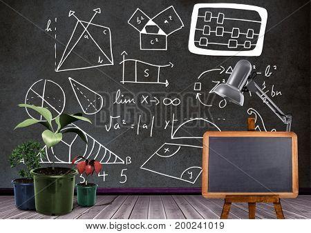 Digital composite of Blackboard and plants in front of diagrams formulas on blackboard