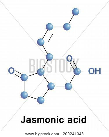 Jasmonic acid is an organic compound found in several plants. The molecule is a member of the jasmonate class of plant hormones. It is biosynthesized by the octadecanoid pathway