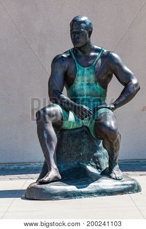 CHULA VISTA, CALIFORNIA - JUNE 30, 2017:  Statue of 1992/1996 Olympic wrestler Wes Barnett, created through a body cast process by artist Willa Shalit at the Chula Vista Elite Athlete Training Center.