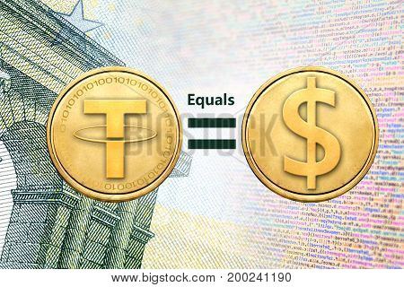 Concept of Tether (or USDT) equals to1 US Dollar Cryptocurrency
