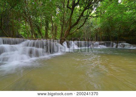 Huay Mae Kamin waterfall in Khuean Srinagarindra National Park Kanchanaburi Province Thailand