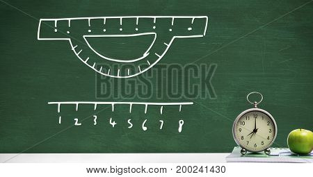 Digital composite of Clock on Desk foreground with blackboard graphics of measurement rulers