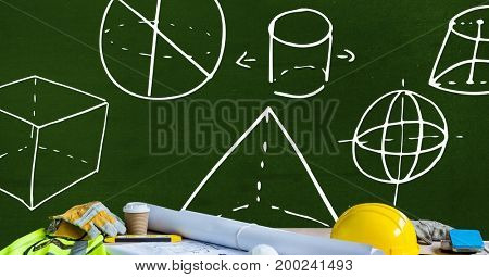 Digital composite of Construction workers clothes and architect items on table with diagram measurements on blackboard