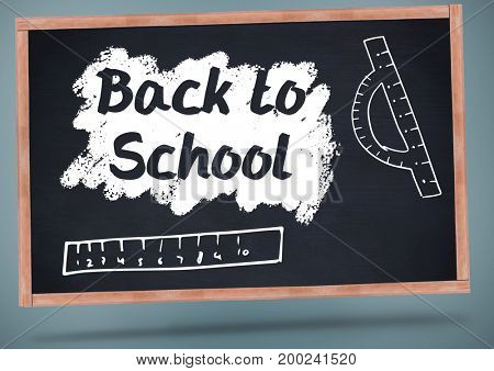 Digital composite of back to school on blackboard with chalk and rulers