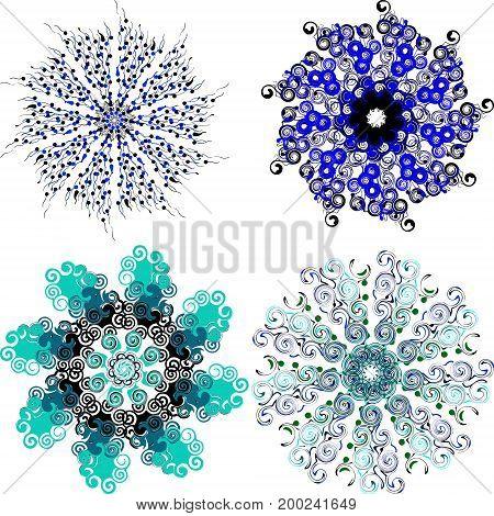 Mandala with twists. set of circular patterns. vector illustration