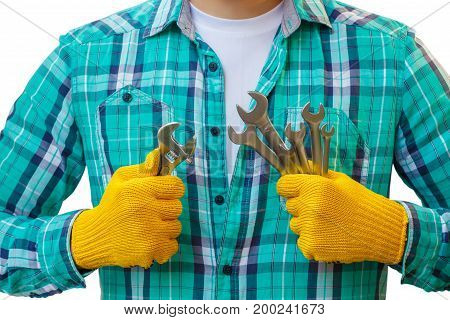 Repairman Showing Their Wrenches.