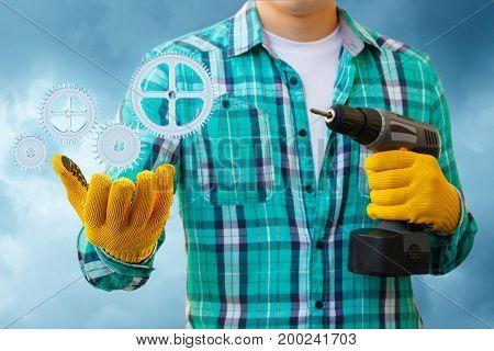 Repairman In Hand Showing The Mechanism .