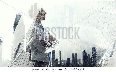 Elegant businessman looking away. Mixed media . Mixed media