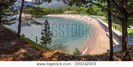 PRZNO BUDVA RIVIERA AREA MONTENEGRO AUGUST 2 2014: Panoramic view from forest of the elite beach in small lagoon near Przno