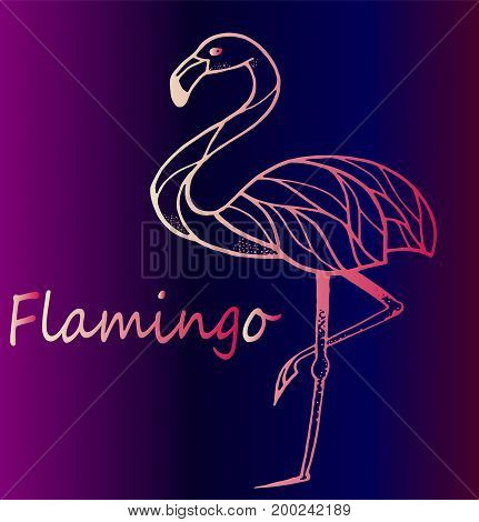Fashionable detailed sketch of tattoo - pink gradient flamingo - trend of the season.
