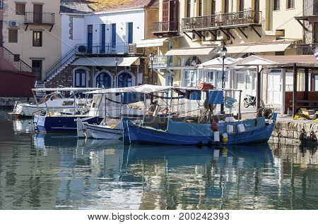 View of the city waterfront (city Rethymno, island Crete, Greece)
