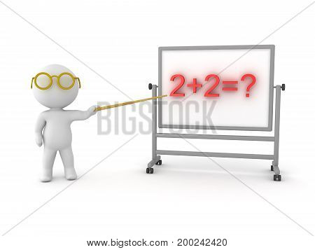 3D Character pointing to math problem. On the whiteboard there is written a basic math problem.
