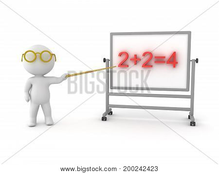 3D Character pointing to basic arithmetic problem. Isolated on white.