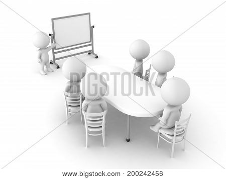 3D illustration of a meeting and presentation. Image depicting a workplace activity.