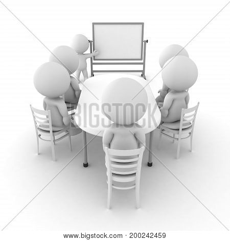 3D illustration of a whiteboard presentation. One person is presenting in front and many are sitting around a table.