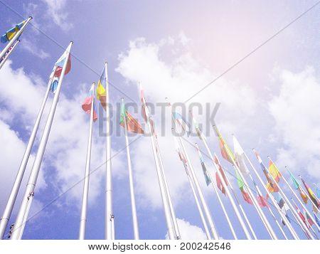 EU flags on Europe parlament summit. International politic event in Strasbourg. UN background