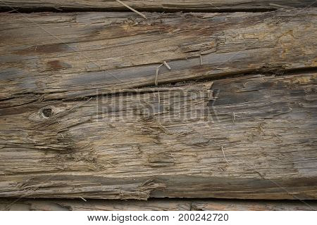 Old cracked timber from a close-up with a horizontal crack