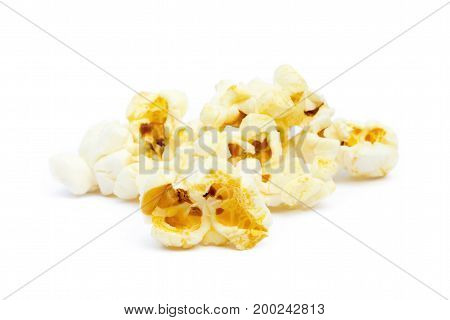 Fresh popcorn isolated on a white background