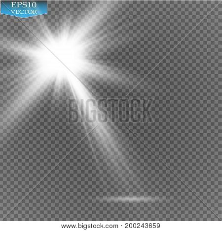 Vector Spotlights. Scene. Light Effects.Vector transparent sunlight special lens flare light effect.