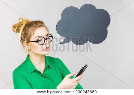 Focused Business Woman Looking At Phone, Thinking Bubble