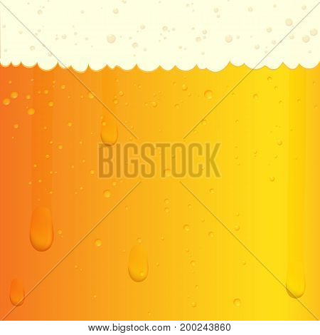 Illustration of a beer texture with bubbles and foam. Glass with a cold beer. Vector