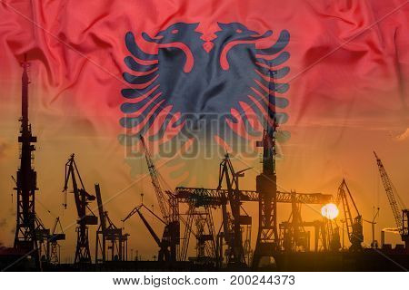 Industrial Concept With Albania Flag At Sunset