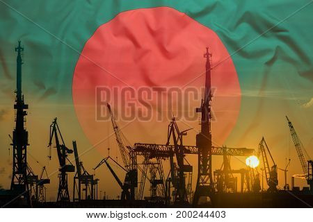 Industrial Concept With Bangladesh Flag At Sunset