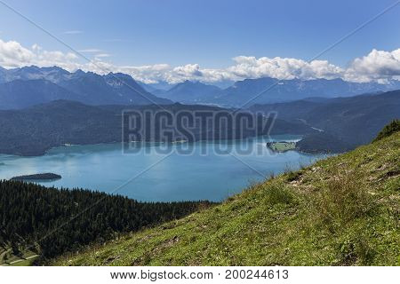 Panorama Mountain View From Jochberg To Lake Walchensee