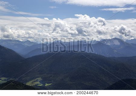 Panorama View From Mountain Jochberg In Bavaria, Germany